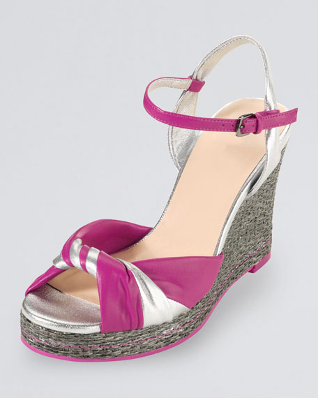 Cascadia High-Heel Wedge Sandal, Silver/Pink