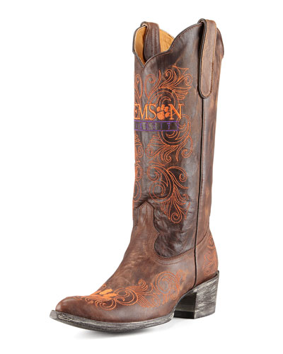 Clemson Tall Gameday Boots, Brass