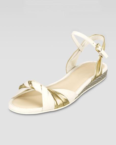 Kaylin Flat Knot Sandal, Platino/Ivory