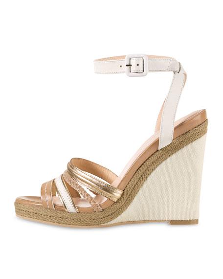 Nassau Braided Wedge Sandal, Ivory/Sandstone/Platino Metallic