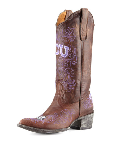 TCU Tall Gameday Boots, Brass