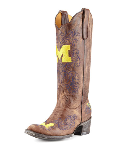 University of Michigan Tall Gameday Boots, Brass