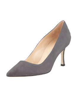 Manolo Blahnik BB Suede 70mm Pump, Green