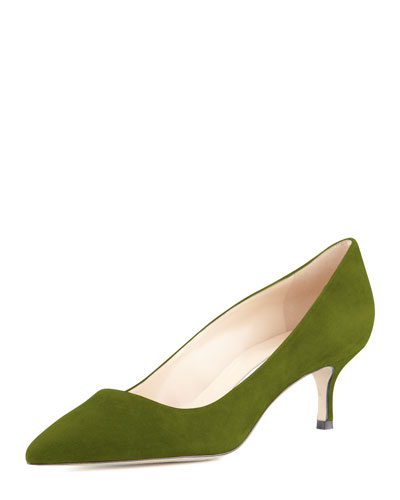Manolo Blahnik BB Suede 50mm Pump, Green