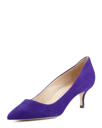 Manolo Blahnik BB Suede 50mm Pump, Purple