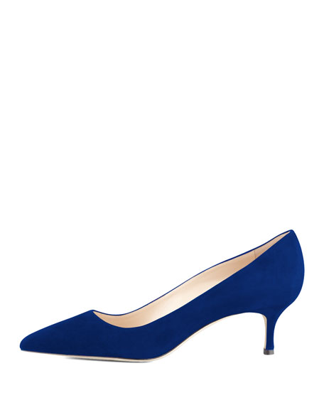 BB Suede 50mm Pump, Cobalt (Made to Order)