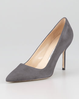 Manolo Blahnik BB Suede 90mm Pump, Gray