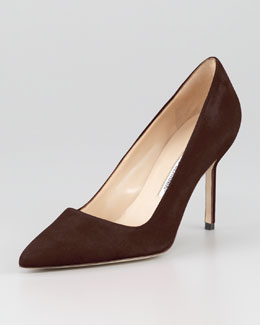 Manolo Blahnik BB Suede 90mm Pump, Brown