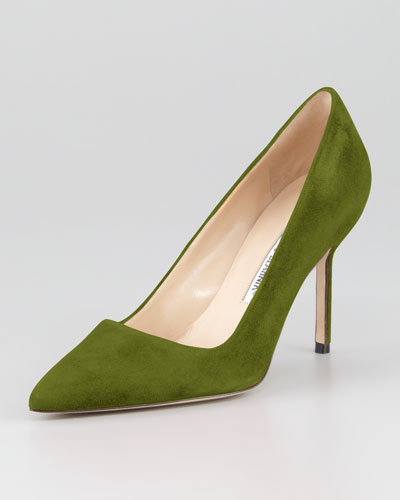 Manolo Blahnik BB Suede 90mm Pump, Green