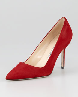 Manolo Blahnik BB Suede 90mm Pump, Scarlet