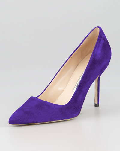 Manolo Blahnik BB Suede 90mm Pump, Purple