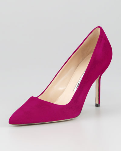 Manolo Blahnik BB Suede 90mm Pump, Magenta