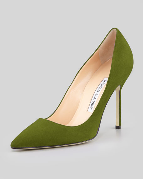 manolo blahnik green suede pumps