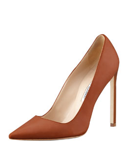 Manolo Blahnik BB Leather 115mm Pump, Caramel (Made to Order)