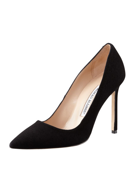 BB Suede 115mm Pump, Black (Made to Order)