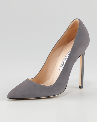 Manolo Blahnik BB Suede 115mm Pump, Gray