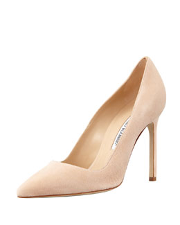 Manolo Blahnik BB Suede 115mm Pump, Nude (Made to Order)
