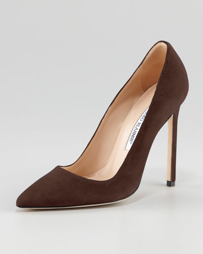 Manolo Blahnik BB Suede 115mm Pump, Brown