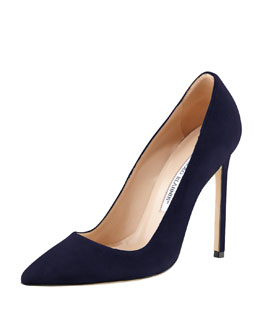 Manolo Blahnik BB Suede 115mm Pump, Navy (Made to Order)