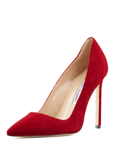 Manolo Blahnik BB Suede 115mm Pump, Scarlet