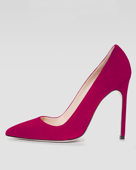 BB Suede 115mm Pump, Magenta