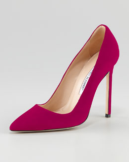 Manolo Blahnik BB Suede 115mm Pump, Magenta