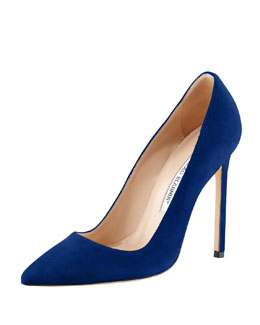 Manolo Blahnik BB Suede 115mm Pump, Cobalt (Made to Order)
