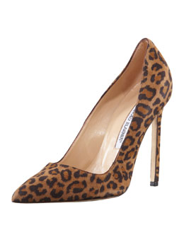 Manolo Blahnik BB Suede 115mm Pump, Leopard (Made to Order)