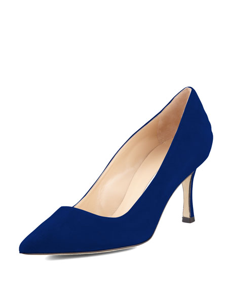 BB Suede 70mm Pump, Cobalt (Made to Order)