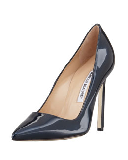 Manolo Blahnik BB Shimmer Patent 115mm Pump, Navy (Made to Order)
