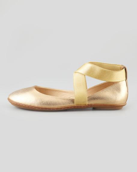 Saxon Metallic Ballerina Flat, Gold