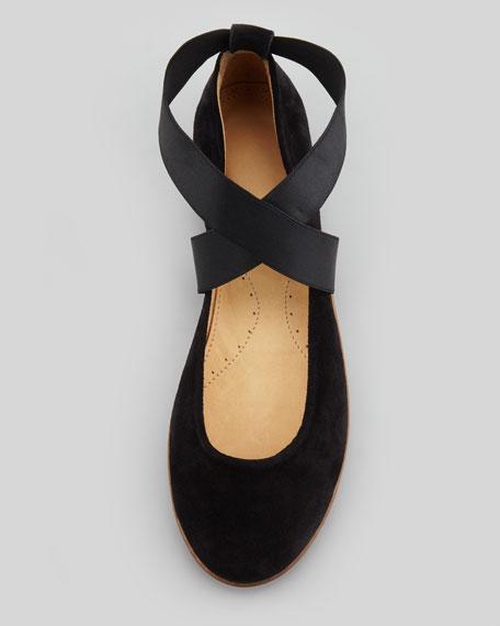 Saxon Suede Ballerina Flat, Black