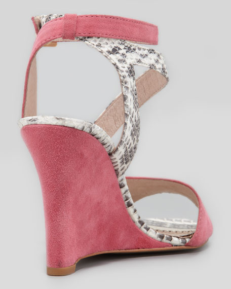Briella Snake & Suede Wedge Sandal