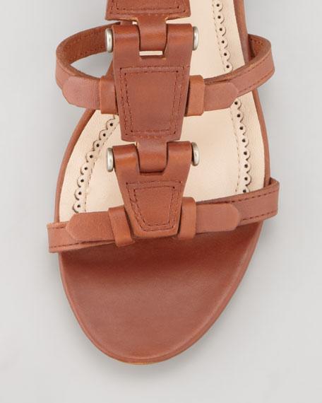 Eleni Hinged Gladiator Sandal, Cognac