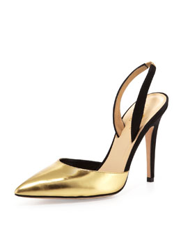 kate spade new york levana metallic pointy slingback pump, gold/black