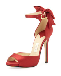 kate spade new york chrissie satin bow d'orsay sandal, red