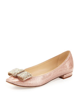 kate spade new york niesha flat with sparkle bow, rose gold