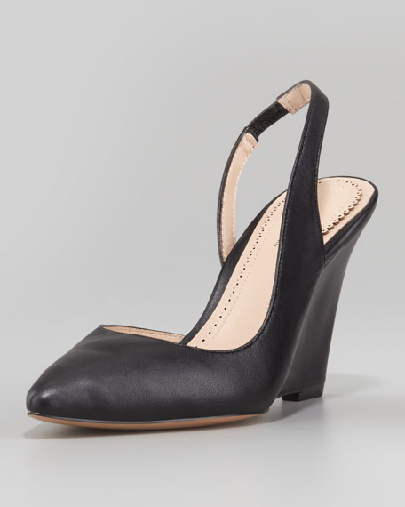 Maira Point-Toe Slingback Wedge, Black