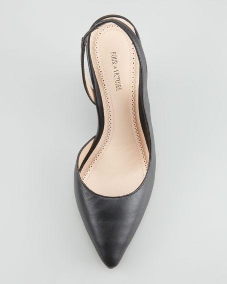 Maira Point-Toe Slingback Wedge, Black