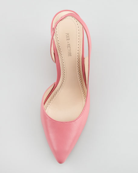 Maira Point-Toe Slingback Wedge, Pink