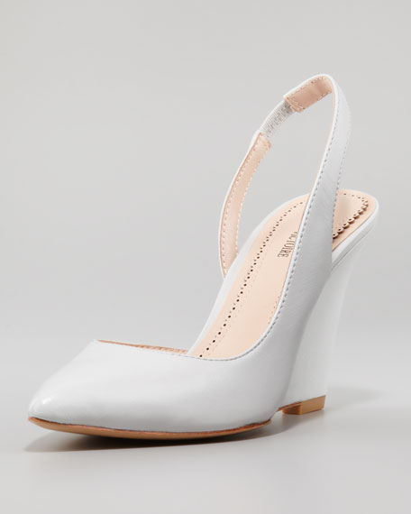 Maira Point-Toe Slingback Wedge, Light Gray