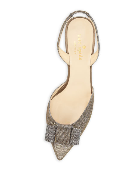 susi sparkly bow slingback pump, bronze