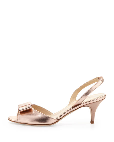 emelia metallic peep-toe bow slingback, rose gold