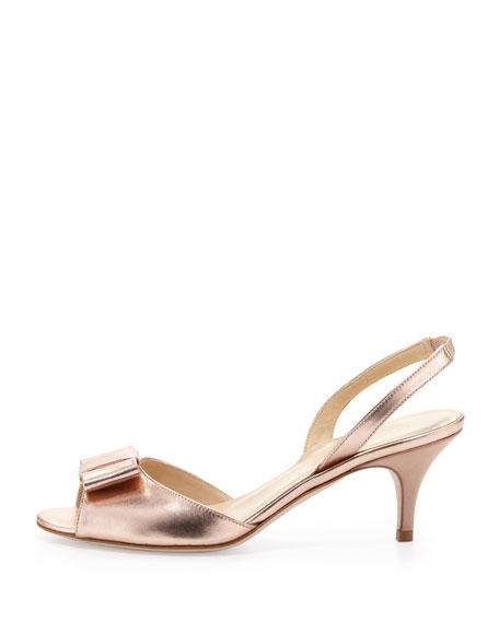 emelia metallic peep-toe bow slingback, rose gold