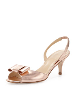 kate spade new york emelia metallic peep-toe bow slingback, rose gold
