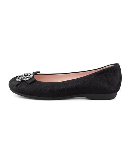 Bunny Sparkle Ballerina Flat, Black