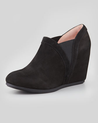Dannah Suede Wedge Bootie, Black