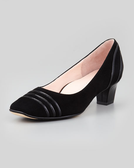 Charise Suede Low-Heel Pump, Black