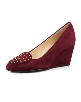 Taryn Rose Keshy Studded Suede Wedge, Port Wine