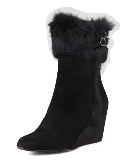 Taryn Rose Kissy Fur-Trim Wedge Bootie, Black